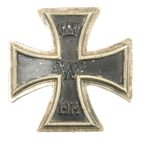 Original German WWI Prussian Vaulted Iron Cross First Class 1914 with Back Clip Original Items