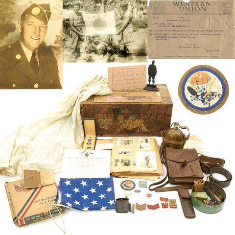 Original U.S. WWII 503rd Parachute Infantry Regiment KIA Grouping with Scrapbook, Purple Heart, War Trophies, MacArthur Signed Letter Original Items