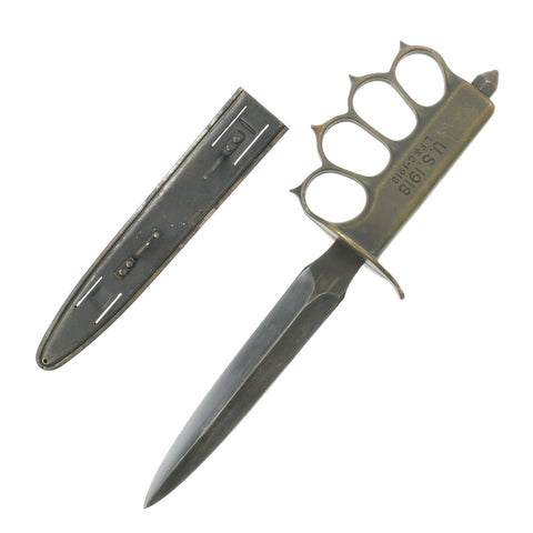 Original U.S. WWI Model 1918 Mark I Trench Knife by L.F. & C. in Mint Condition with Steel Scabbard Original Items