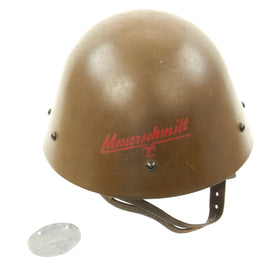 Original German WWII Messerschmitt Factory Guard Converted Czech Vz32/M32 Helmet with ID Tag