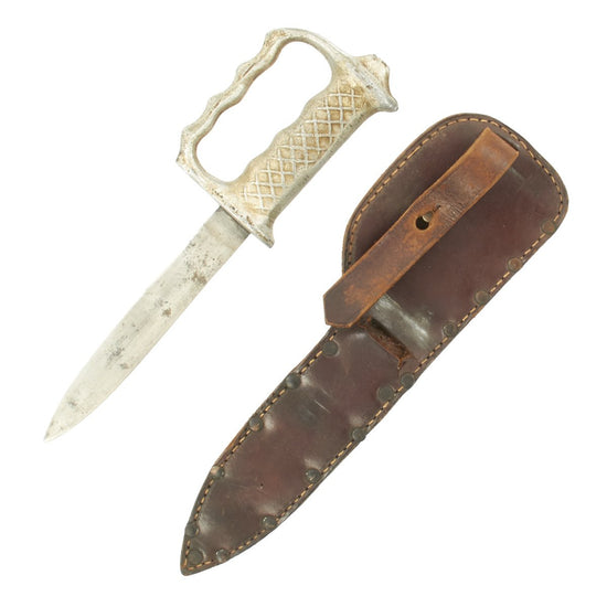 Original U.S. WWII Theater Made Knuckle Fighting Knife with Aluminum Grip and Leather Belt Sheath Original Items