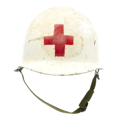 Original U.S. WWII Medic M1 McCord Front Seam Helmet with Firestone Liner Original Items
