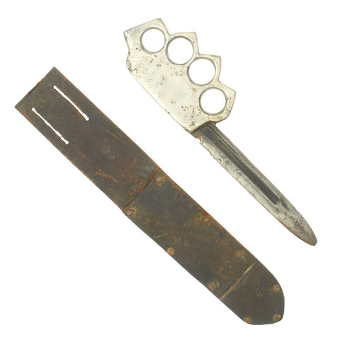 Original U.S. WWII Custom Knuckle Duster Fighting Knife Constructed From Remington Bayonet