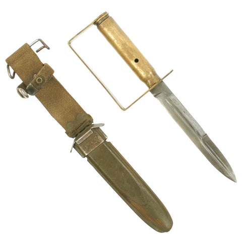 Original U.S. WWII Custom Brass Knuckle Fighting Knife M4 Bayonet Conversion with M8 Scabbard Original Items