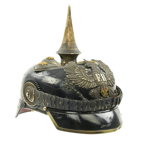 Original WWI Imperial German Prussian Dragoon Officer M1897 Pickelhaube Helmet with Cover Original Items