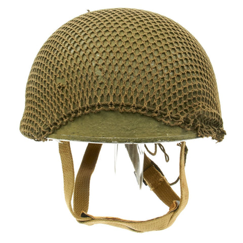 Original WWII British - Canadian MKIII Refurbished Paratrooper Helmet with Net