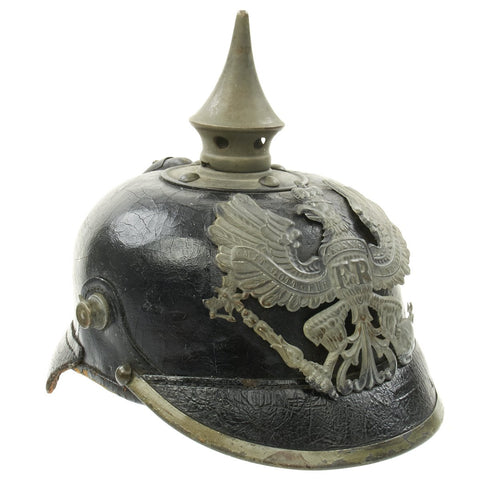 Original German WWI Prussian M1915 Size 55 Infantry EM/NCO Pickelhaube Spiked Helmet - dated 1917 Original Items
