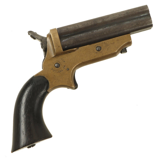 Original U.S. 19th Century Sharps Model 2C .30 Rimfire 4 Barrel Brass Frame Pepperbox Pistol - Serial 7569 Original Items