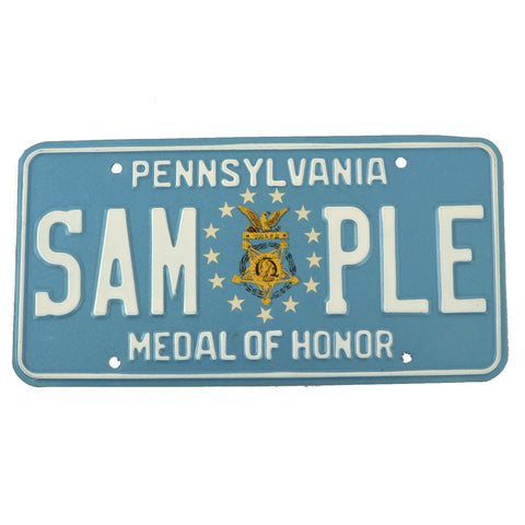 Original U.S. Army Congressional Medal of Honor State of Pennsylvania Sample License Plate Original Items