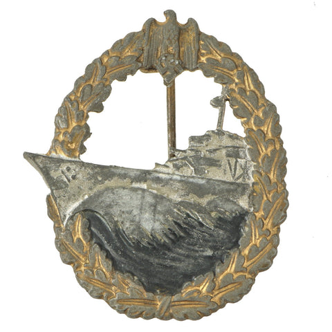 Original German WWII Kriegsmarine Destroyer War Badge by Rudolf Souval of Vienna Original Items