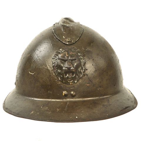 Original Belgian WWII Model 1926 Adrian Infantry Helmet with Lion Badge & Complete Liner Original Items