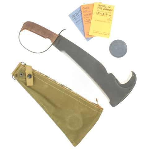 Original U.S. WWII LC-14-B Woodman Pal Survival Axe by Victor Tool with Belt Scabbard, Whetstone and Manuals Original Items
