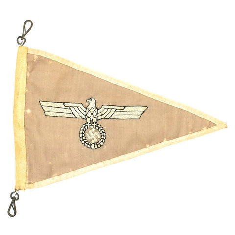 Original German WWII Army Heer Officer Vehicle Staff Car Fender Pennant Flag Original Items