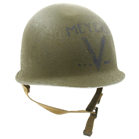 Original U.S. WWII Named Victory M1 Schlueter Fixed Bale Helmet with Westinghouse Liner