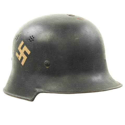 Original German Pre-WWII M34 Square Dip Early Style Fire Police Helmet with Double Decals Original Items
