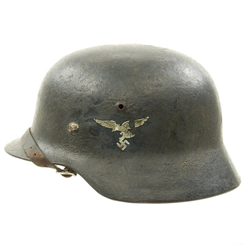 Original German WWII Luftwaffe M35 Double Decal Droop Tail Eagle Steel Helmet - marked ET64 Original Items
