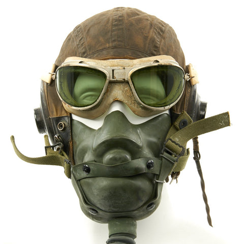 Original U.S. WWII USAAF Aviator Flight Set - AN6530 Green Goggles, A-14 Mask, AN-H-15 Helmet, ANB-H-1 Receivers Original Items