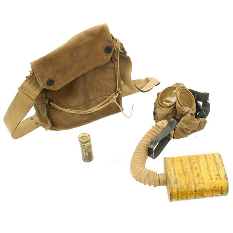 Original U.S. WWI Named M1917 SBR Gas Mask with Carry Bag Set Original Items