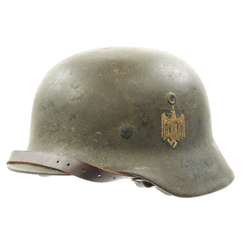Original German WWII Army Heer M40 Single Decal Helmet with Liner and Chinstrap - Marked NS64 Original Items