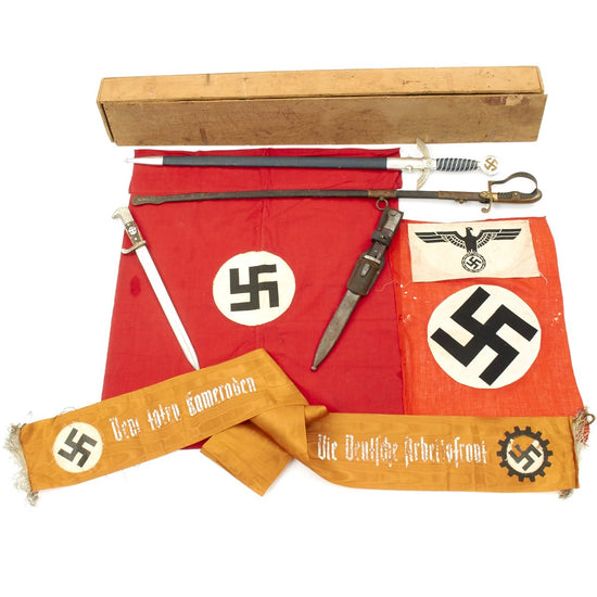 Original U.S. WWII Named Bring Back Set in Box - Luftwaffe Sword, German Flags, Bayonets