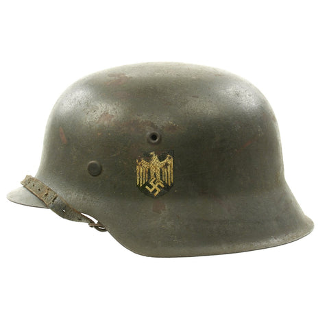 Original German WWII M42 Single Decal Army Heer Helmet with Size 61 Liner and Chinstrap - ET68 Original Items