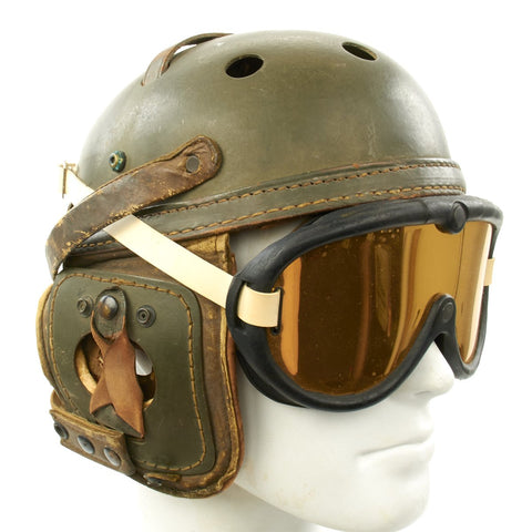 Original U.S. WWII M38 Tanker Helmet by Sears Saddlery Co with M-1944 Goggles Original Items
