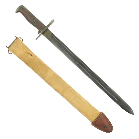 Original U.S. WWI M1905 Springfield 16 inch Rifle Bayonet marked S.A. with M1910 Scabbard - dated 1918 Original Items