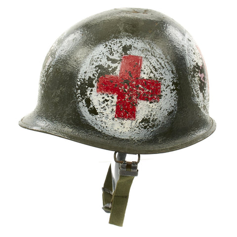 Original U.S. WWII Late-War Medic M1 McCord Front Seam Helmet with CAPAC Liner Original Items
