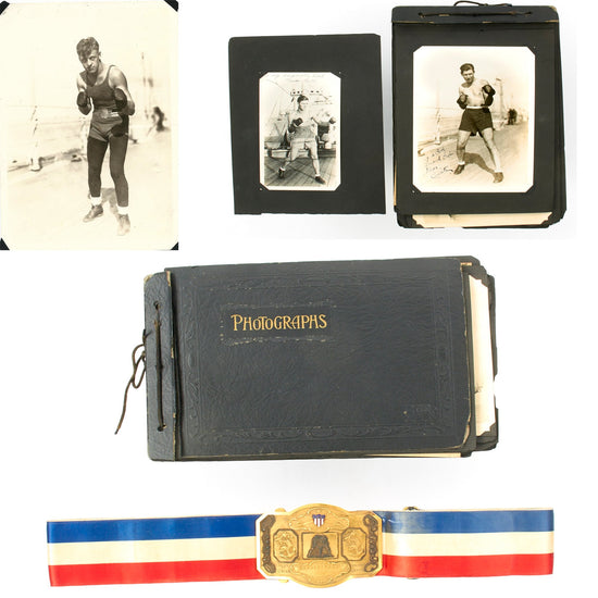 Original U.S. Navy USS California 1926 Fleet Boxing Championship Belt with Photo Album - Bobby Near