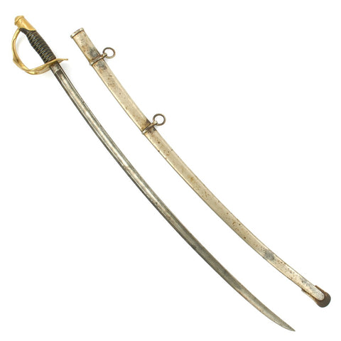 Original U.S. Civil War M-1860 Light Cavalry Saber by Mansfield and Lamb with Nickel-Plated Scabbard - Dated 1864 Original Items