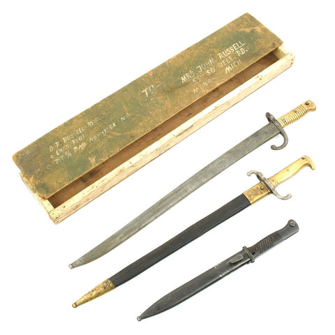 Original U.S. WWII Named Bring Back Bayonet Grouping in Box - 98k, Chassepot, Model 1871 Original Items
