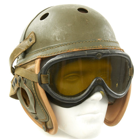 Original U.S. WWII M38 Tanker Helmet by Wilson Athletic Goods with Polaroid Goggles Original Items