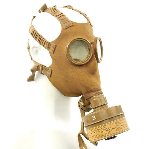Original Japanese WWII Gas Mask with Filter and Paper Label Original Items