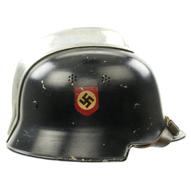 Original German WWII M34 Square Dip Aluminum Fire Police Helmet with Double Decals - Feuerwehr Helmet