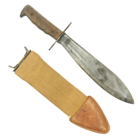 Original U.S. WWI Model 1917 Bolo Knife with Canvas Scabbard by Plumb, St. Louis - Both Dated 1918 Original Items