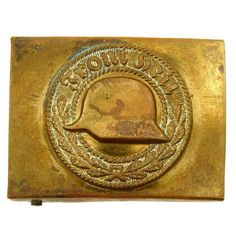 Original German WWII NS-RKB Veteran's Steel Helmet League Brass Belt Buckle - Der Stahlhelmbund