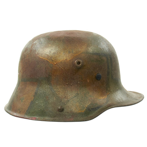 Original German WWI M16 Stahlhelm Helmet with Original Camouflage Paint Original Items