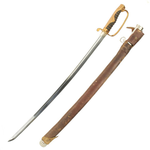 Original Japanese WWII High-quality Army Officer Kyu-Gunto Sword with Nickel Plated Scabbard and Leather Cover Original Items