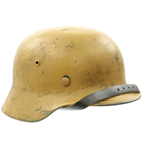 Original German WWII M35 Deutsches Afrikakorps Desert Dunkelgelb Tan Steel Helmet - marked EF66 Original Items