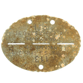 Original German WWII SS Identity Disc Dog Tag - 14th Waffen Grenadier Division Supply Company - No. 113