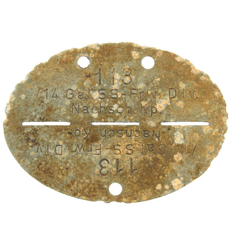 Original German WWII SS Identity Disc Dog Tag - 14th Waffen Grenadier Division Supply Company - No. 113 Original Items