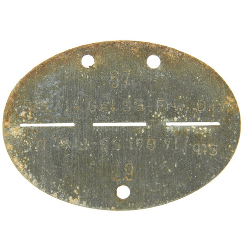 Original German WWII SS Identity Disc Dog Tag - 14th Waffen Grenadier 1st SS Galician Division - No. 67 Original Items