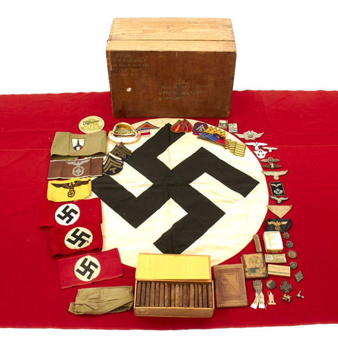 Original U.S. WWII Named Bring Back Grouping in Box - German Armbands, Medals, Flags, Cigars, Insignia Original Items