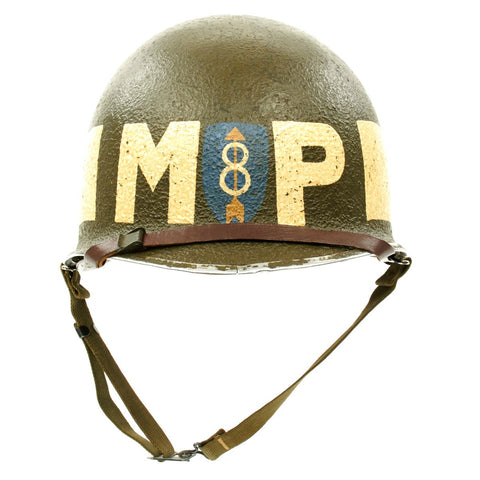 Original U.S. WWII 8th Infantry Division MP Helmet - 1943 McCord Front Seam with Westinghouse Liner Original Items