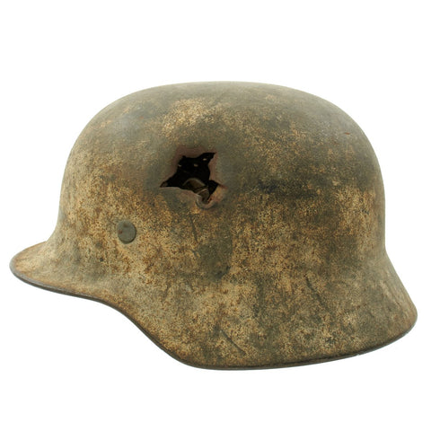 Original German WWII M40 KIA Shot Through Winter Camouflage Helmet - Marked EF64 Original Items
