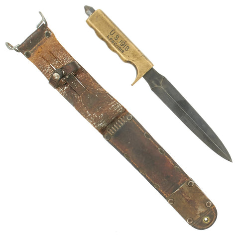Original U.S. WWI Modified Model 1918 Mark I Trench Knife by L.F. & C. in M6 Leather Scabbard dated 1943 Original Items