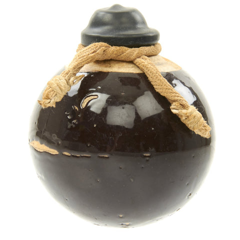 Original Japanese WWII Type 4 Ceramic Hand Grenade in Dark Brown Glaze with Fuze and Cover - Inert Original Items