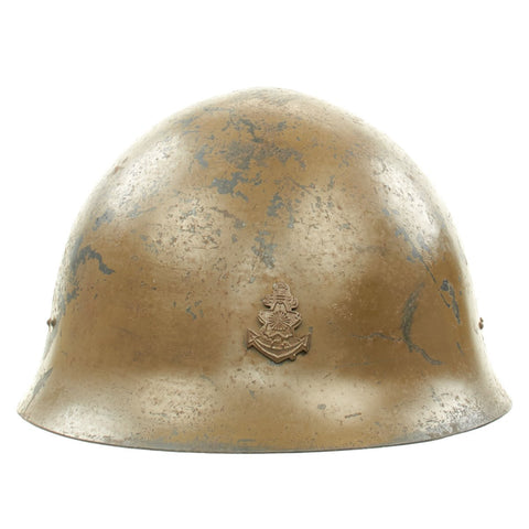 Original WWII Japanese Special Naval Landing Forces (SNLF) Helmet with Metal Badge Insignia Original Items