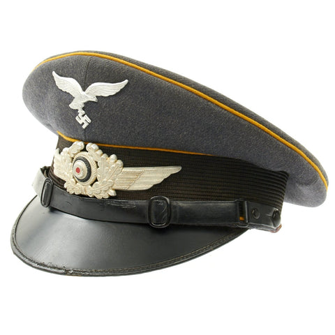 Original German WWII Luftwaffe Flight Branch Visor Cap by Franz Ritter 1938 Original Items
