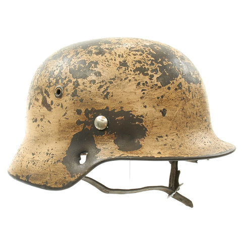 Original German WWII M40 KIA Shot Through DAK Desert Dunkelgelb Tan Helmet - Marked ET66 Original Items